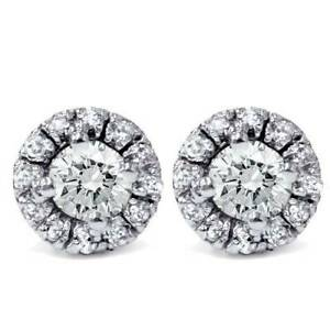 5/8Ct Round Diamond Studs Pave Halo Womens 14K White Gold Earrings Brilliant Cut