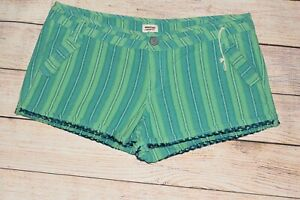 NEW MOSSIMO 14 15 FIT 6 GREEN WHITE TEAL STRIPE LINEN CUFFED SHORTIE SHORTS