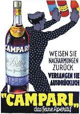 """VINTAGE PLATE 1935 BITTER CAMPARI""""DAS FEINE APERITIF"""" WERBUNG,ADVERTISING,POSTER"""