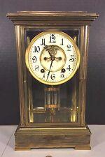 Antique Ansonia Crystal Regulator Clock Runs & Strikes Early 1900s Bronze Case