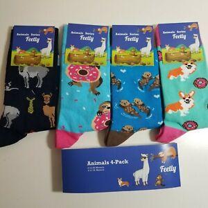Feetly ANIMAL SOCKS 4 Pack Womens Size 6-10 Fun Novelty CORGI LLAMA OTTER SLOTH