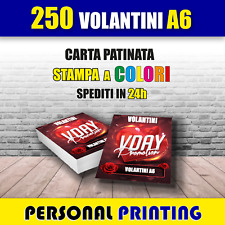 250 VOLANTINI A6 ( 10 X15 cm ) A COLORI STAMPA HD QUALITY CARTA 130 gr FLYERS