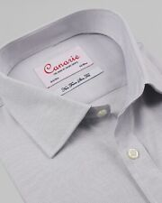 Men's Formal Shirt Grey Cotton Tencel Mix Luxury Weave