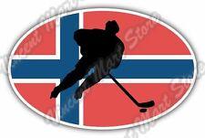 """Norway Flag Ice Hockey KHL NHL Team Oval Car Bumper Vinyl Sticker Decal 6""""X4"""""""