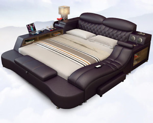 Smart Electric Big Double Leather Bed Modern Widened Master Luxury Bed Rooms