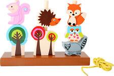 Steckspiel und Fädelspiel Waldtiere Stapelspiel Formen Steckspielzeug Steckturm