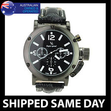 V6 MENS WATCH Faux Leather Strap Water Resistant Army Military Gold Dress CP 15