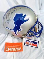 BARRY SANDERS Autographed Detroit Lions Throwback Proline Helmet. MM COA