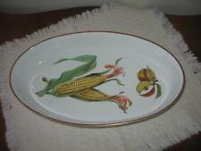 """Royal Worcester Evesham GOLD 12.5""""x7.5"""" Porcelain Oval Baker Apple Corn Dish"""