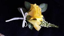 Stunning Artificial Yellow Rose, Freesia, Heather, Foliage & Ribbon Buttonhole