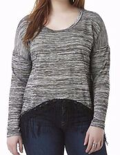 New Bongo Womens Plus Size 2X 22/24 Fringe Shirt Gray Black Crochet Long Sleeve