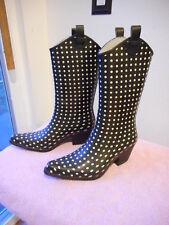 Women's Bit & Bridle Rainboots Size 8 Cowboy Style Pointed Black/WhitePolkaDots