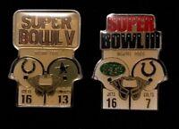 Baltimore Indianapolis Colts NFL Super Bowl III, V Starline Collector Pins, Rare