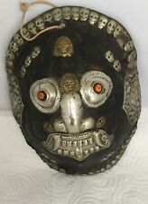 MASQUE TRADITIONNEL TIBETAIN/ METAL BALNC & BRONZE/ CARAPACE/ XX SIECLE