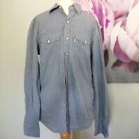 Levis Mens Blue White Gingham Check Slim Fit Long Sleeve Cotton Shirt Size S