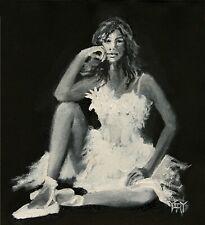 YARY DLUHOS ORIGINAL ART OIL PAINTING Woman Girl Ballet Dance Figure White Dress