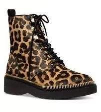 Michael Kors Haskell Combat Boots Flat Leopard Butterscotch Haircalf 7 M $250