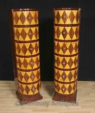 Pair Art Deco Chests Drawers Tall Boys Lozenge Inlay Furniture