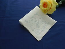 Vintage White Madeira Linen Hanky Mono W with Floral Embroidery Unused