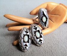 Navajo STERLING Silver & OPAL Shadowbox EARRING & RING SET Size 6.5 -Felix Perry