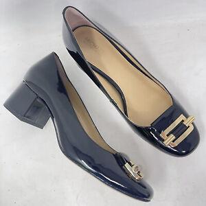 Michael Kors Heels Womens 6 Gloria Black Patent Leather Mid Pump Gold Shoe