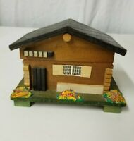 Jewelry Box Swiss Chalet Alpine House Wooden Log Cabin Music Japan Vintage