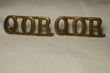 WW1 Canadian QOR Queens Own Rifles Brass Shoulder Titles