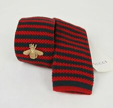 Gucci Red/Green Wool Knit Tie with Gold Embroidered Bee 406348 3074