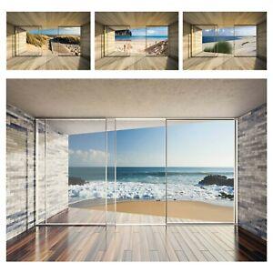 Fototapete 3D EFFEKT Ausblick Fenster Terrasse Meer Strand Wohnzimmer Nordsee 82