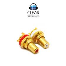 2x conectores Cinch instalación casquillos RCA chasis Plug socket premium dorado gama alta