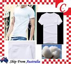 Men's Plain Blank Pure 100%Cotton Blank T-shirt Basic Tee White Short Sleeve New