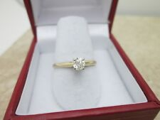 14K Yellow Gold Round Mine Cut Diamond Solitaire Engagement Ring .24ct Sz 7 1/2