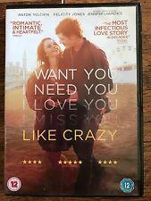 Felicity Jones Anton Yelchin LIKE CRAZY  2011 Long Distance Romance Drama UK DVD