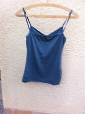 Womens Green Tank Top Size 8 Cool Summer Camisole Shoulder Straps Gathered Front
