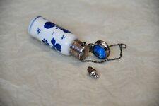 Antique Perfume 1875 Scent Bottle Blue White Porcelain Sterling Silver Delft