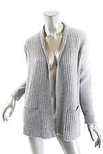 MICHAEL KORS Heather Gray 100% Cashmere Ribbed Cardigan Sweater   XS  No Closure