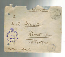 1942 Poland in British Army Soldier Mail Censored Cover to palestine with letter