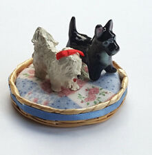 Dollhouse Miniatures 2 Adorable Spoiled Dogs & their Dog Bed (Maltese/Schnauzer)