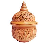 Thai Pottery, Terracotta Bowl With Lid Carving, Clay Jar Folk Art Earthenware