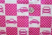 SALE Echino Nico Ni Co Car Patchwork Pink Japanese Cotton Linen Fabric Half Yard