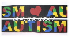 1.5 AUTISM AWARENESS HEART LOVE GROSGRAIN RIBBON AUTISTIC PUZZLE 4 HAIRBOW BLACK