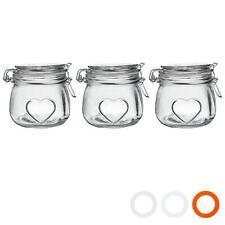 Heart Design Glass Storage / Food Preserve Preserving Jar, 500ml - Pack of 3