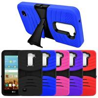 Hybrid Rugged Silicone Shockproof Case Cover With Stand For LG K10 Premier LTE