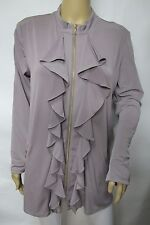 Beige Stretchy Knit Long Sleeve Zip Front Ruffle Jacket Top Size XL
