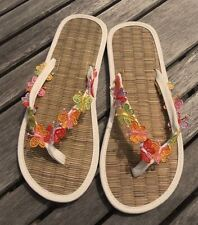 Ladies Straw Flip Flops Hand Decorated with Embroidered Butterflies