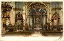 Sankt Gallen Schweiz Color Postkarte Frankatur 1905 Inneres der Kloster Kirche