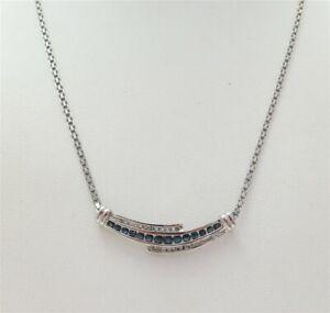 "10K White Gold Sapphire & ~1/5CTW Diamond Bypass Center Flat Link Necklace 17"""