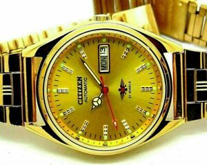 citizen automatic men's gold plated day/date vintage golden dial japan watch run