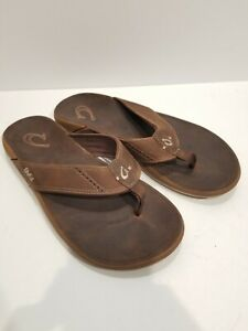 Olukai Mens Nui Leather Sandals Rum/Rum Size 12 Dark Brown Worn Once Excellent