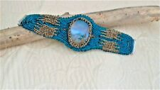 """Natural Picture Agate Bead Embroidery Bracelet, 7 3/8"""" x 2""""x 1"""",Turquoise,gold"""